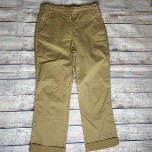 J. Crew Ruffle Chino khaki Crop Pants Size 4